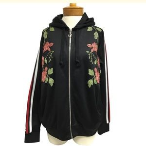Gucci Floral Embroidered Zip-front Hoodie